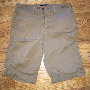 Dark long khaki shorts